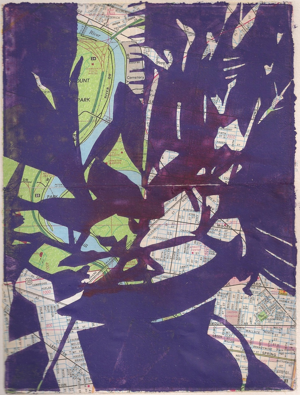 """In the Sunlight, 6x7 7/8"""", monotype and map, 2010"""