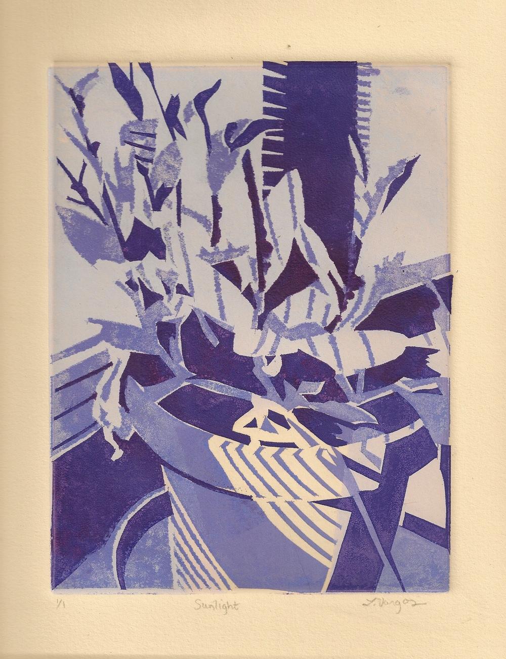 "Sunlight, 6x7 7/8"", monotype, 2010"