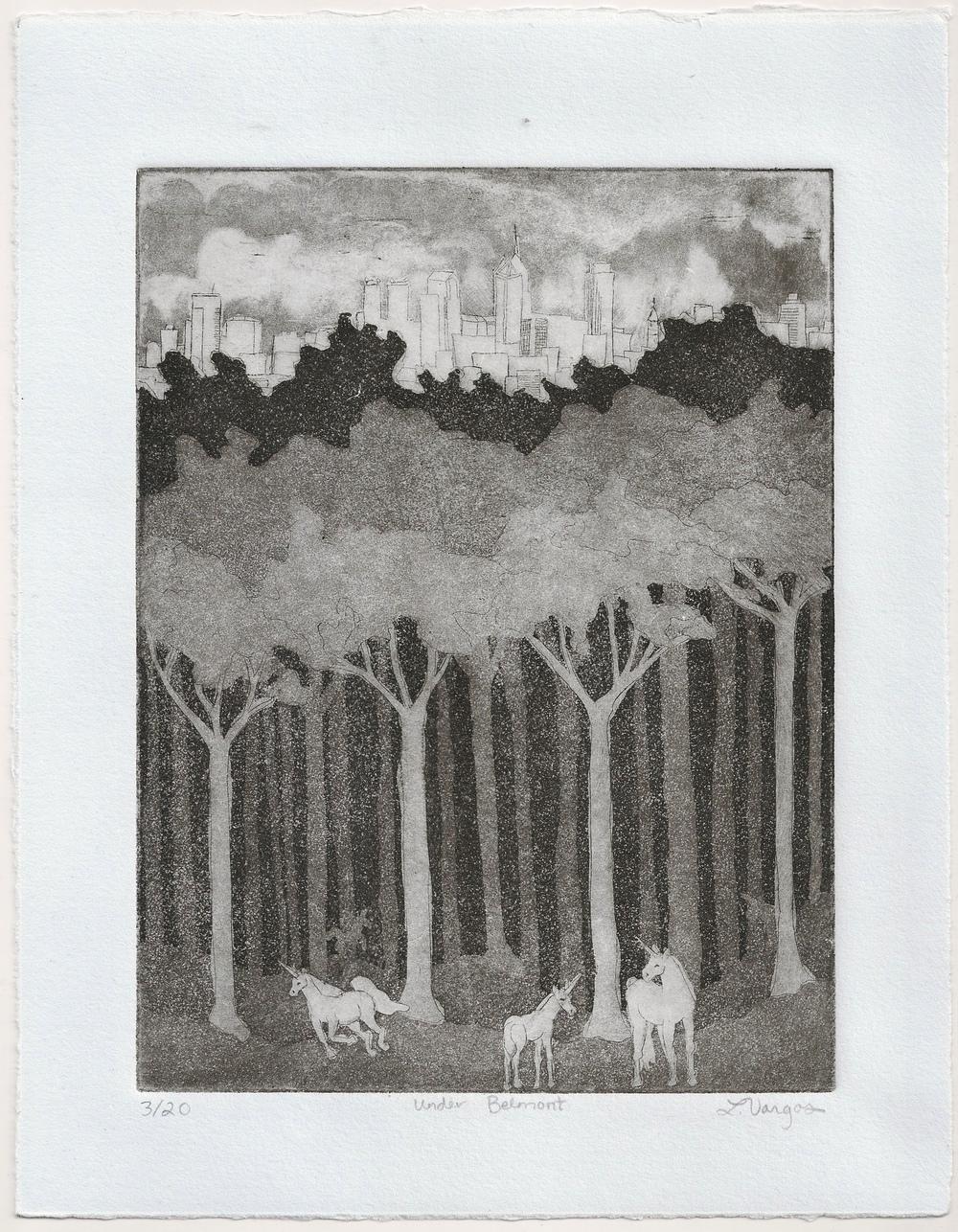 """Under Belmont, 6x7 7/8"""", etching, 2010"""