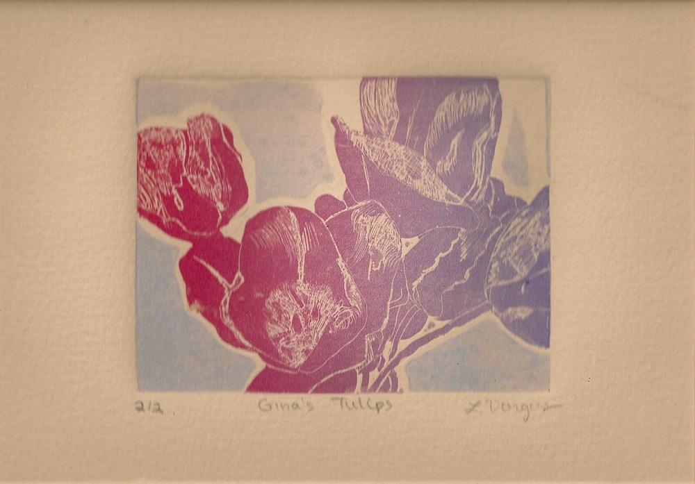 "Gina's Tulips, 3 7/8x 2 3/4"", etching, 2010"