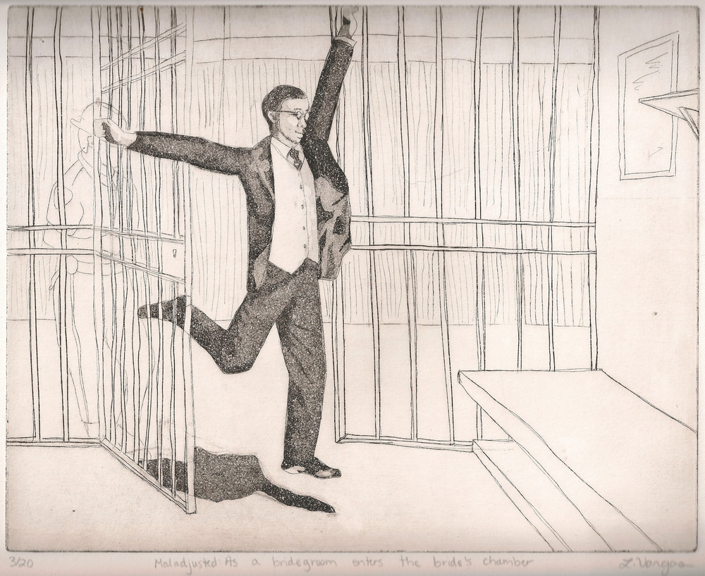 """Maladjusted: As a bridegroom enters the bride's chamber, 9 7/8x8"""", etching, 2010"""