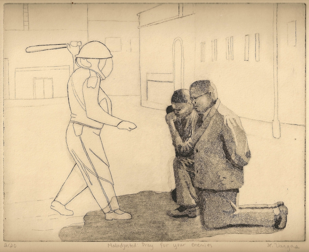 """Maladjusted: Pray for your enemies, 9 5/8x8"""", etching, 2010"""