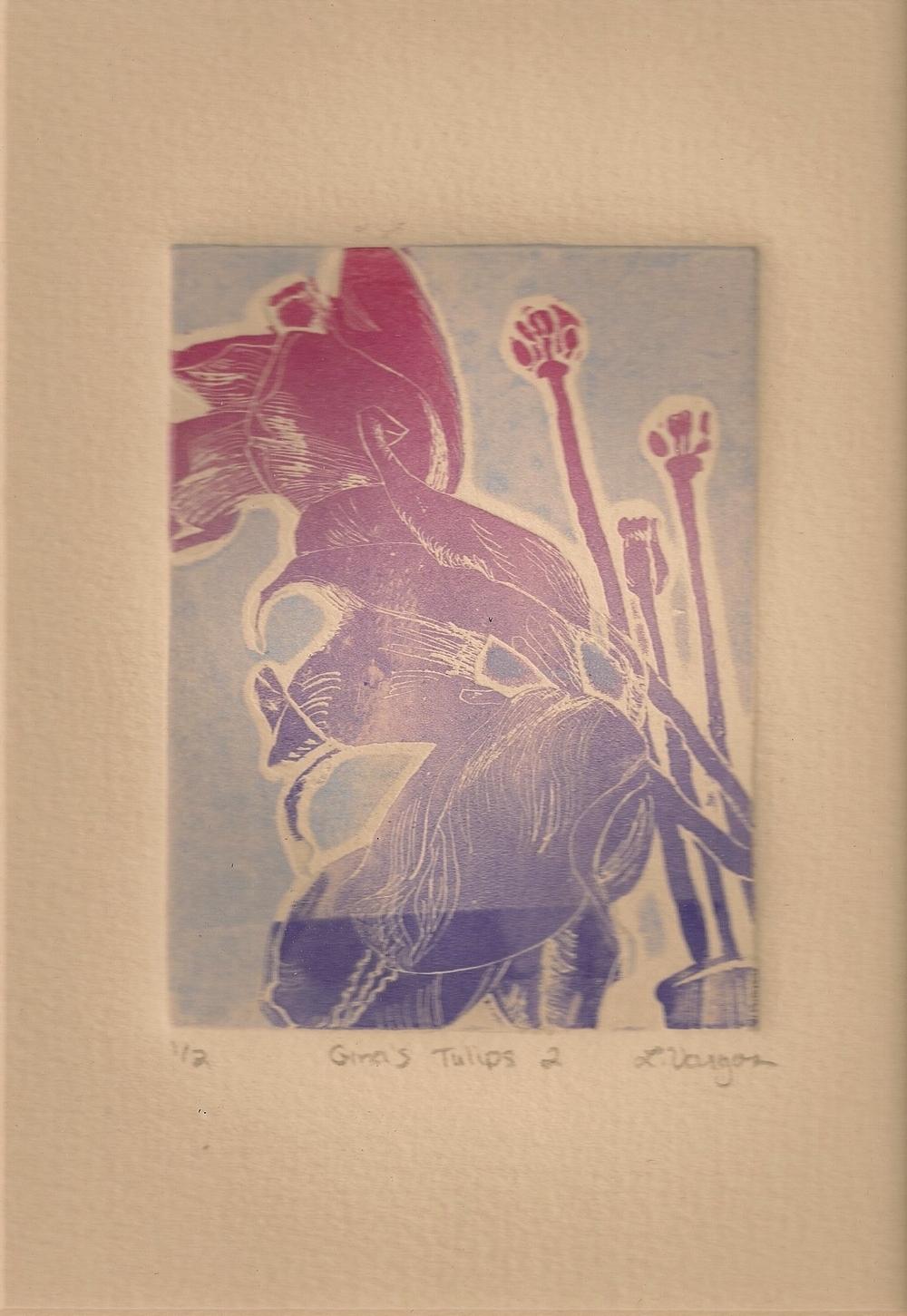 "Gina's Tulips 2, 2 3/4x3 7/8"", etching, 2010"