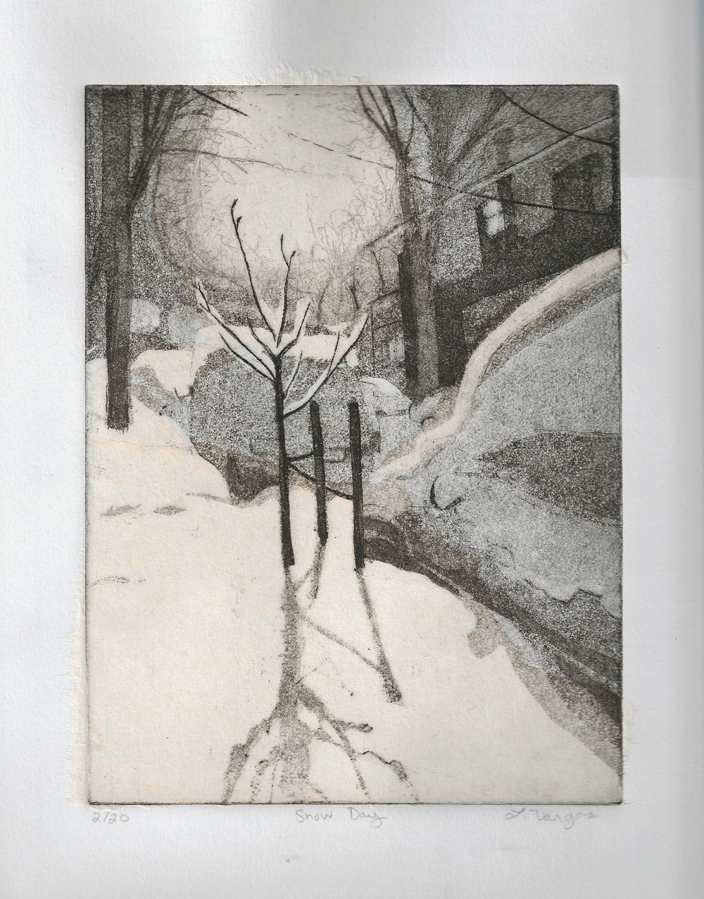 """Snow Day, 6 3/4x8"""", etching with chine colle, 2010"""