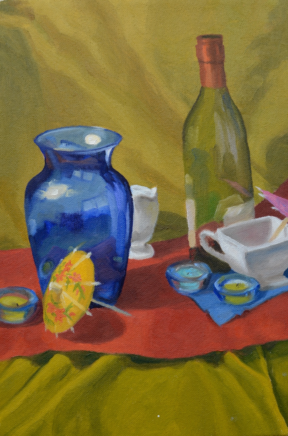 "Still Life with Bottles, 8x12"", oil on canvas, 2007"