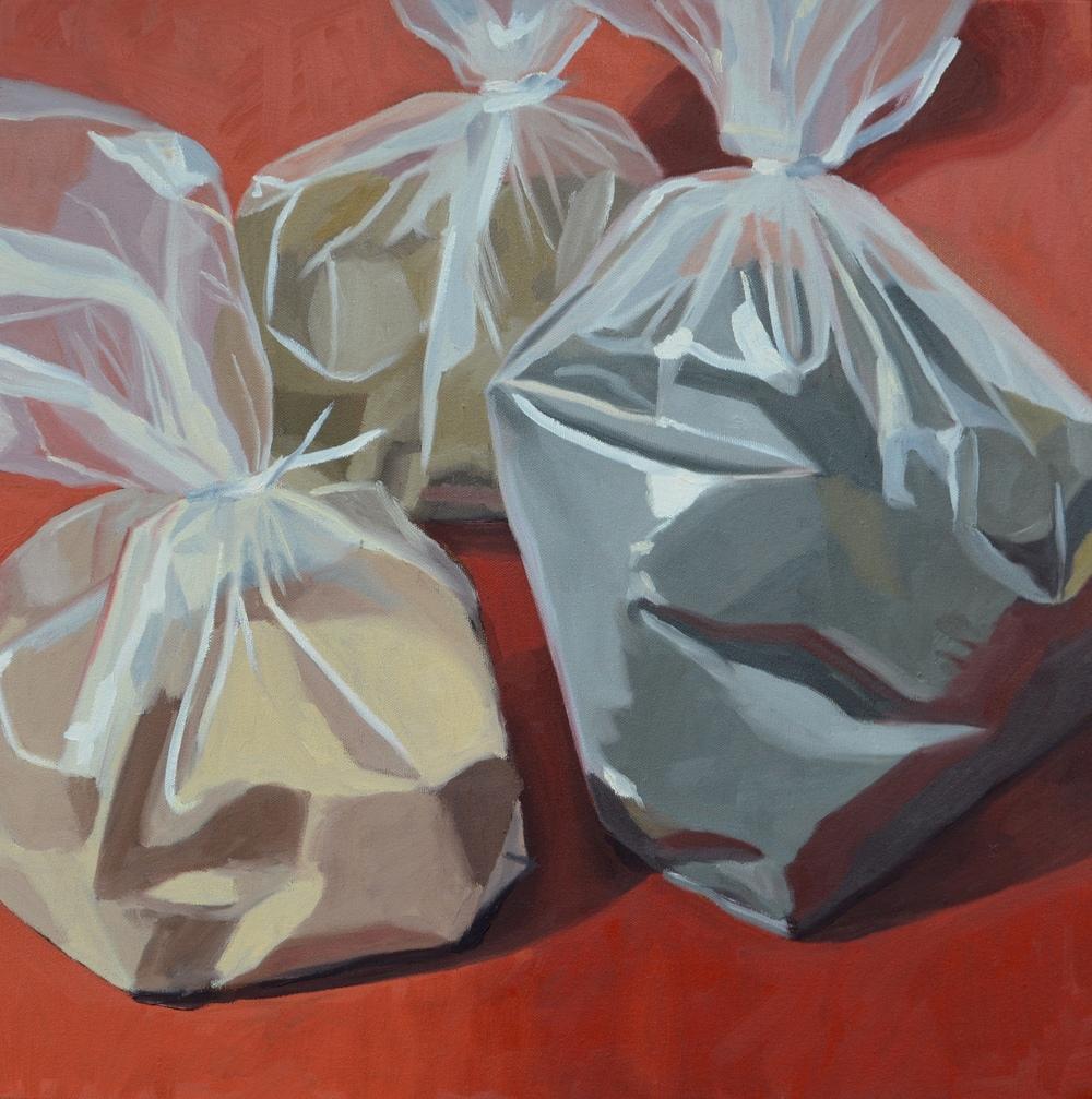 "Grains, 20x20"", oil on canvas, 2008"