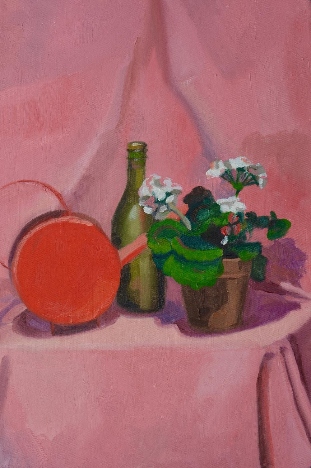 "Pink Still Life, 12x18"", oil on canvas, 2007"