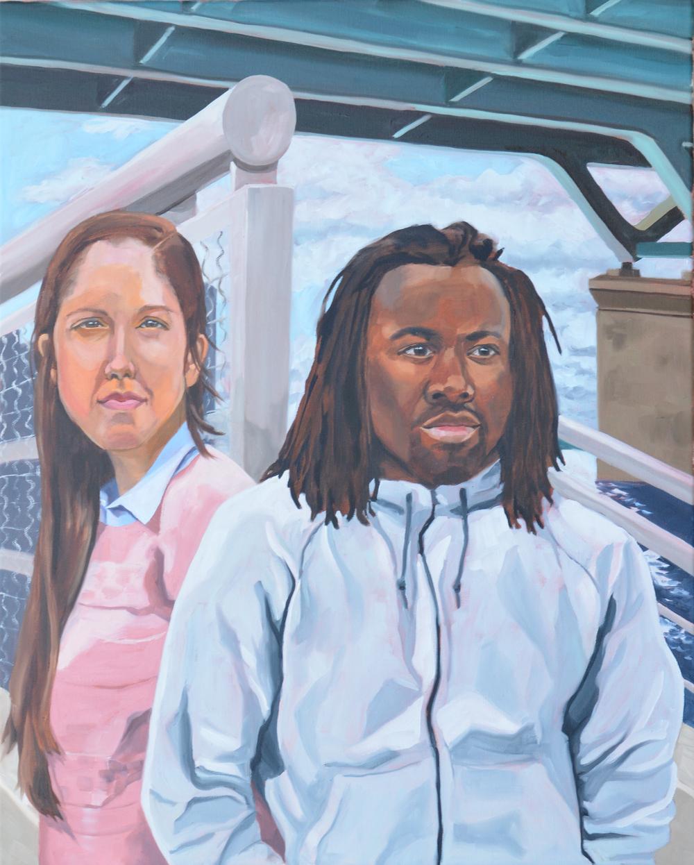 """Untitled (Elise & Jael), 24x30"""", oil on canvas, 2016"""
