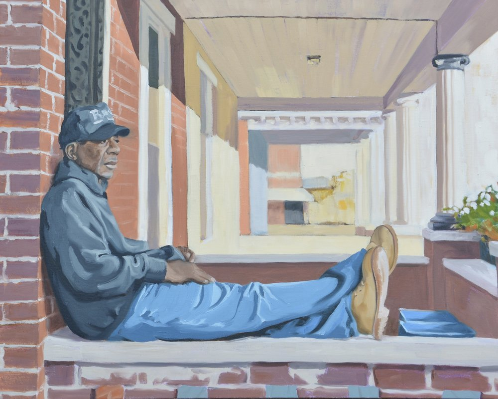"Good Neighbors (Walt), 24x30"", oil on canvas, 2016"
