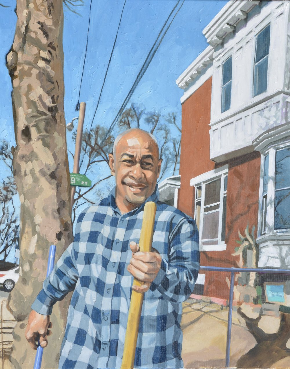 "Good Neighbors (Ruben), 24x30"", oil on canvas, 2017"