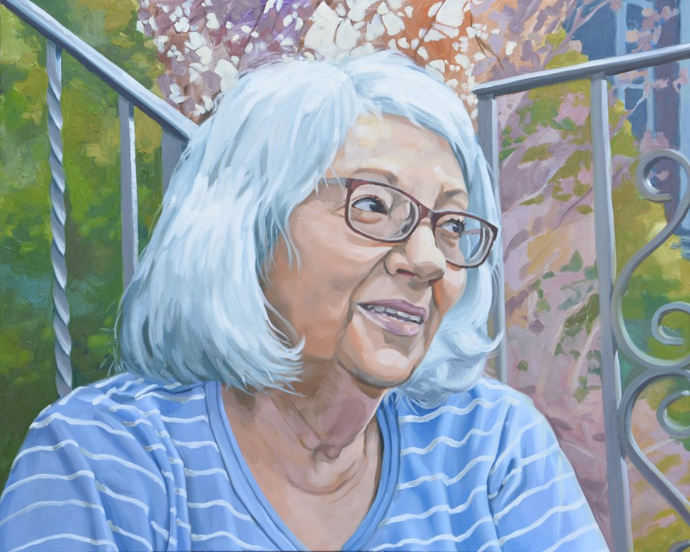 "Good Neighbors (Karen), 30x24"", oil on canvas, 2017"