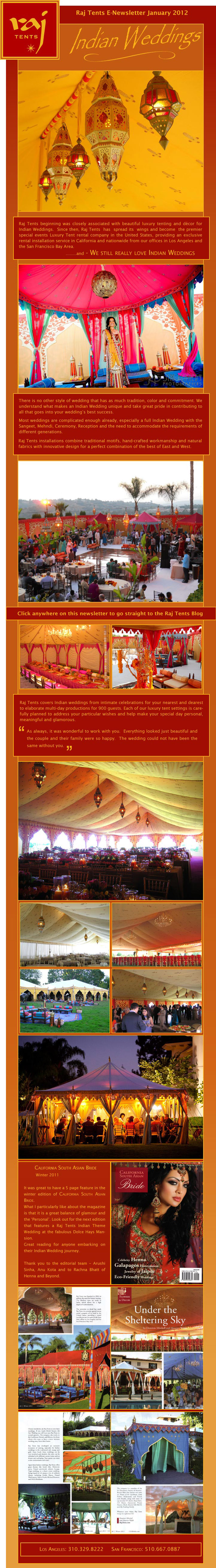 Raj Tents Indian Weddings Newsletter
