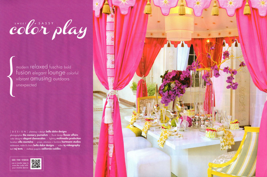Raj Tents Todays Bride Pavilion photo shoot sweet and sassy color play