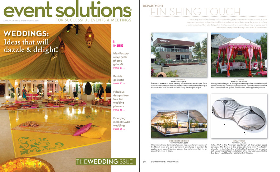 Event Solutions cover and Raj Tents feature