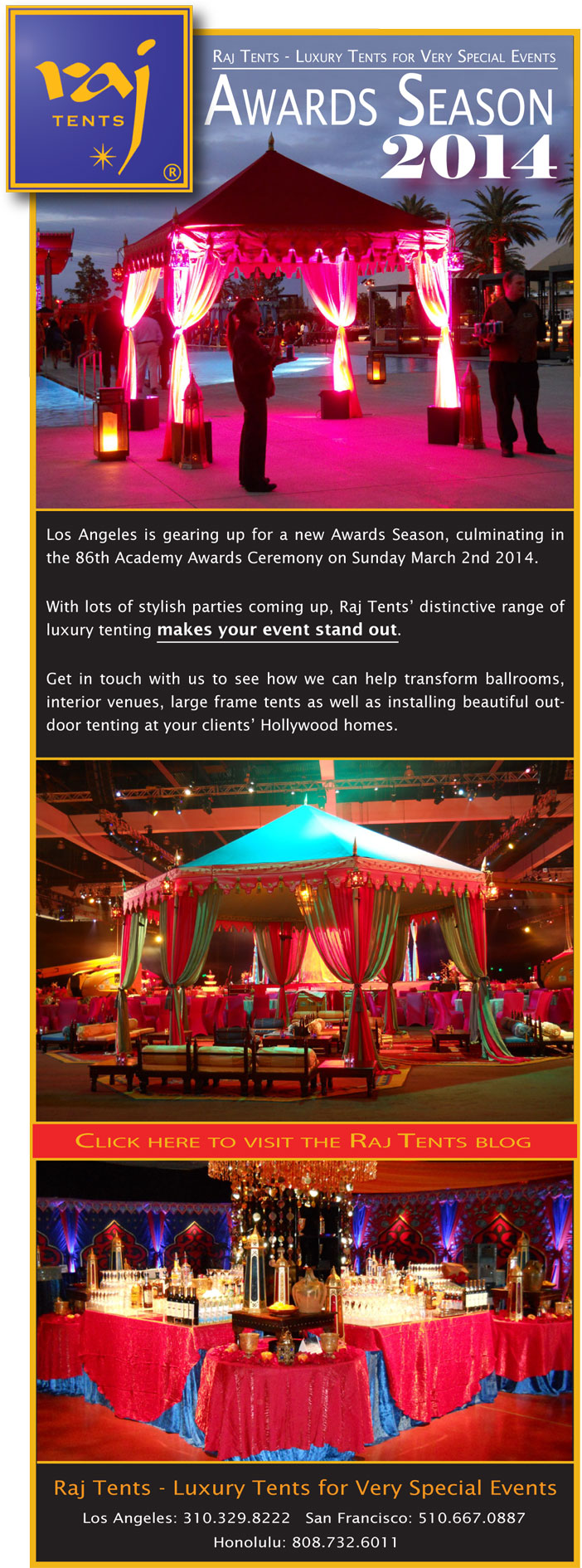 Raj Tents awards season parties 2014