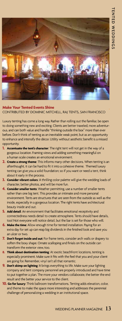 Dominic Mitchell tips on 'Make your Tented Event Shine' Wedding Planner Magazine May 2014
