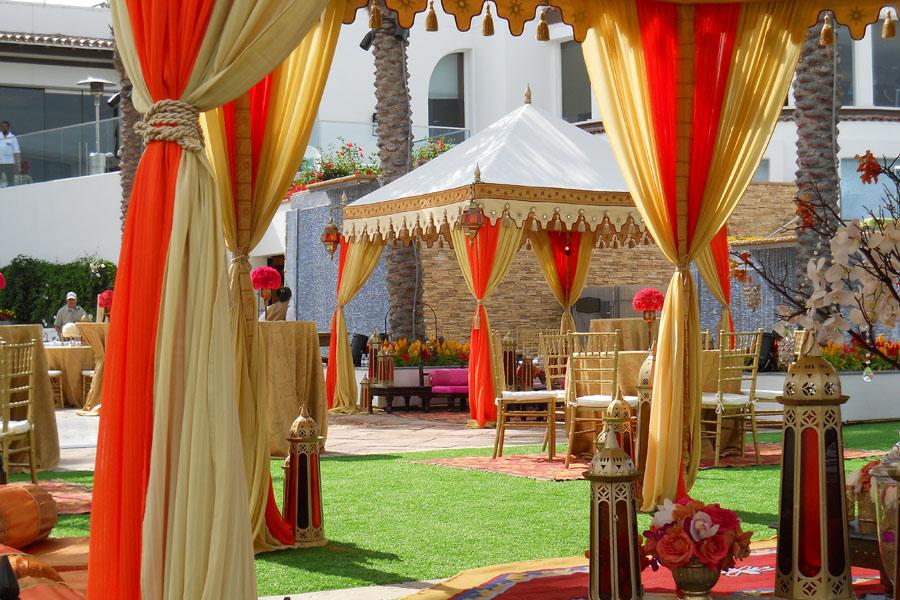 Raj Tents Cream, honey glow and orange pergola lounges wtih lights.jpg