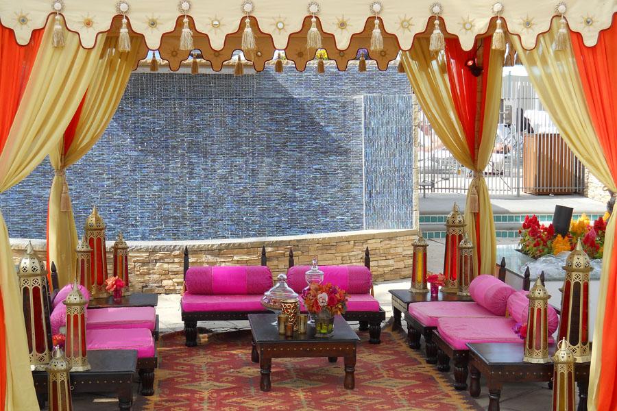 Raj Tents Honey glow pergola with hot pink lounge.jpg