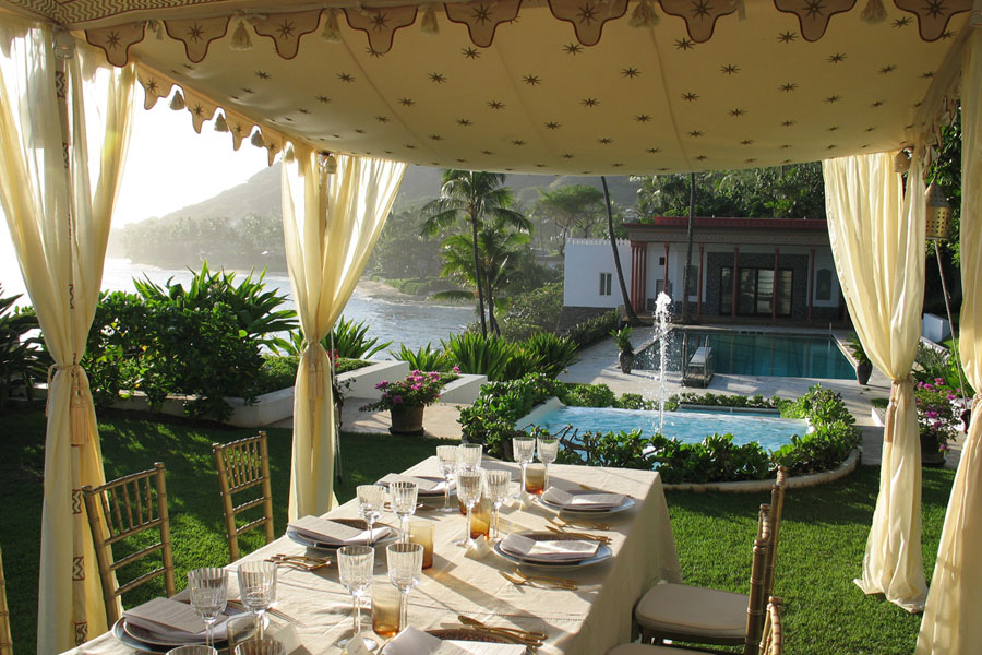 Raj Tents Honolulu Pergola Dining Tent in Gold and Cream.JPG