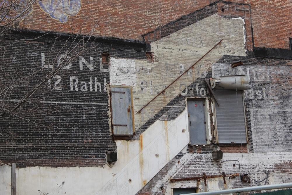 """The most amazing example of """"dramaturgy of wall"""" that I've witnessed yet! Demolition site, near the Willis Avenue Bridge - soon to be gone..."""