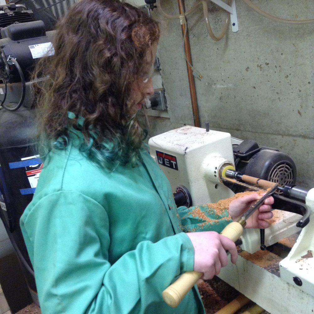 Ellie on lathe 1-14-2017.jpg