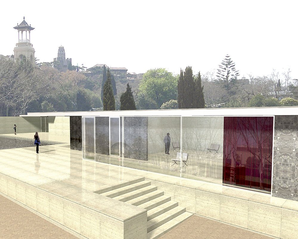 Barcelona Pavilion.        Digital 3D model using ArchiCAD.        2006  Created from sketches and photographs on site and published architect's drawings