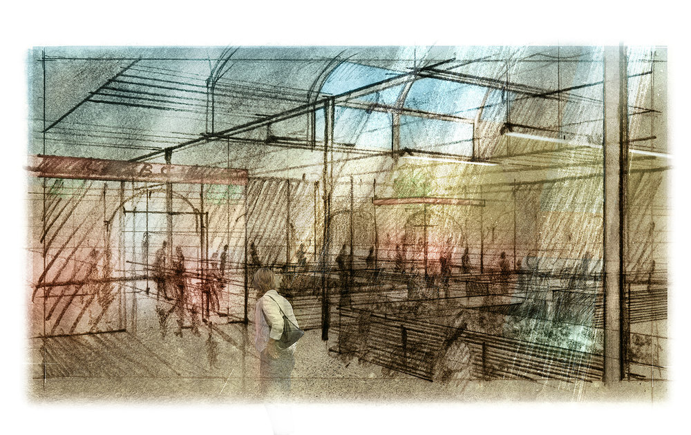 Indoor market.        Mixed media.        2014  Visualisation of public space