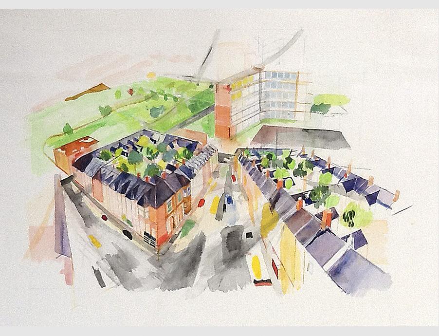 London SW6 Townscape study.Watercolour.1979
