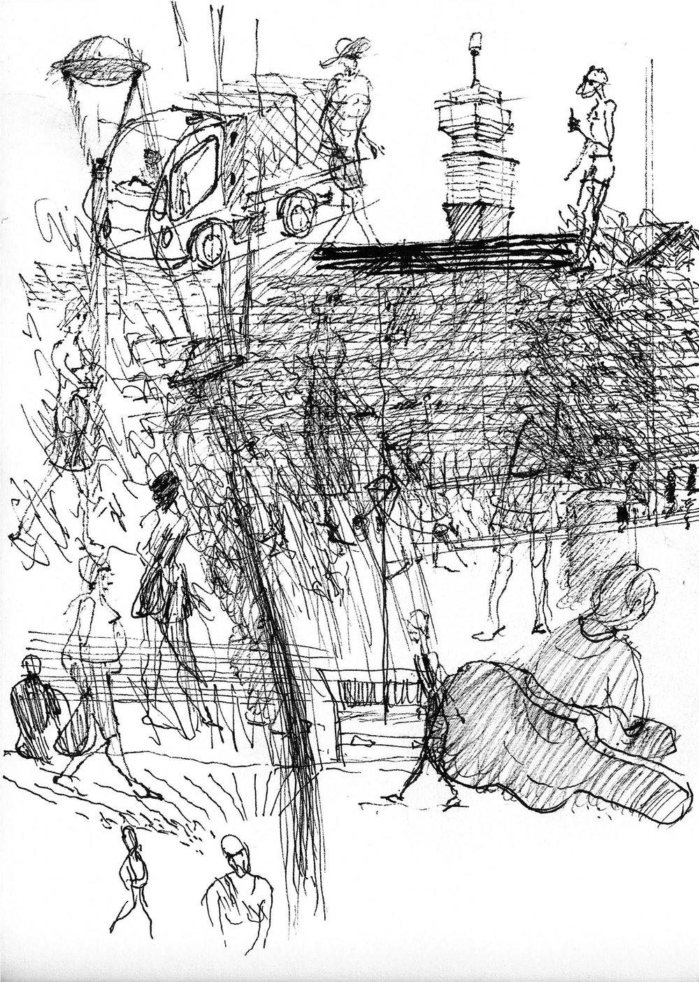 Warwick - Response to place.Felt pen.2013