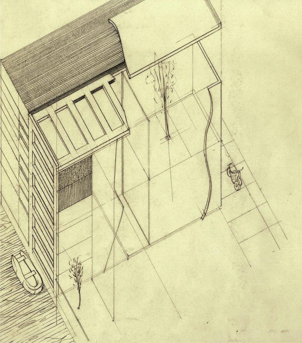 Amsterdam house axonometric.Pencil, 2013