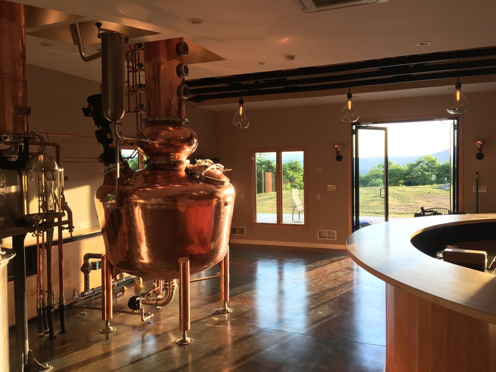 Distillery and Tasting Room - We can accommodate small groups up to 10 people so we can focus on sharing our unique farm to bottle organic operation.