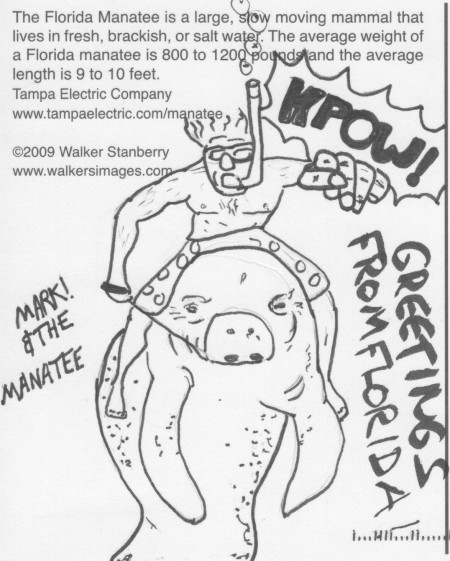 A cartoonish drawing of Mark! riding a manatee while punching the viewer.