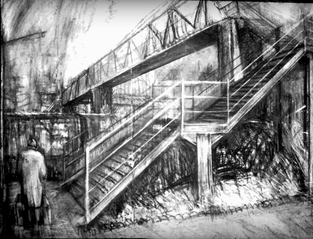 "Jacob's Ladder, London W13  charcoal and chalk on paper, 55"" x 70"""