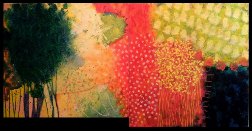acrylic and mixed media on canvas and MDF, 24 x 46 inches