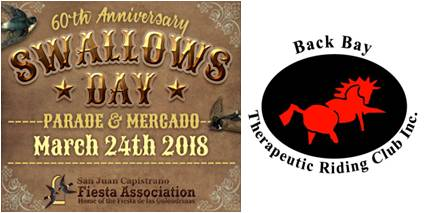 Come cheer on the Back Bay Therapeutic Riding Club, Saturday March 24th at the Swallows Parade !!! 🎉 - 6 riders and our 2 mini-donkeys are going to represent the club to raise awareness, please come support us !!