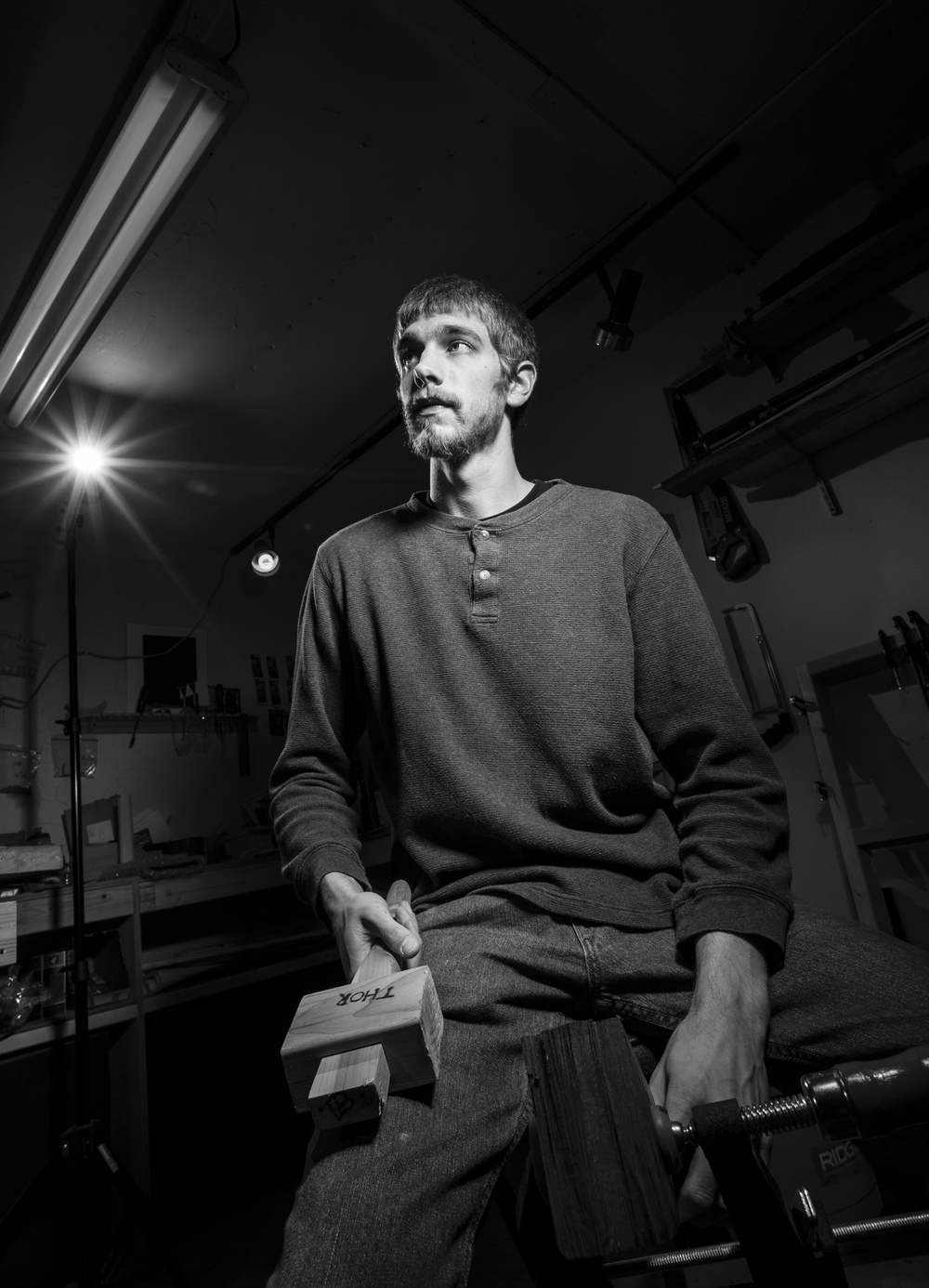 Portrait of Tyler Beaudoin of Against The Grain Woodworking in Newmarket, New Hampshire