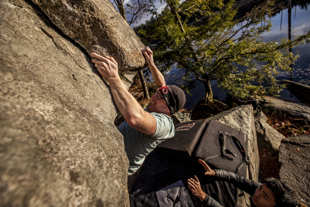 Steve Thunstrom climbing Overlooked Boulder problem