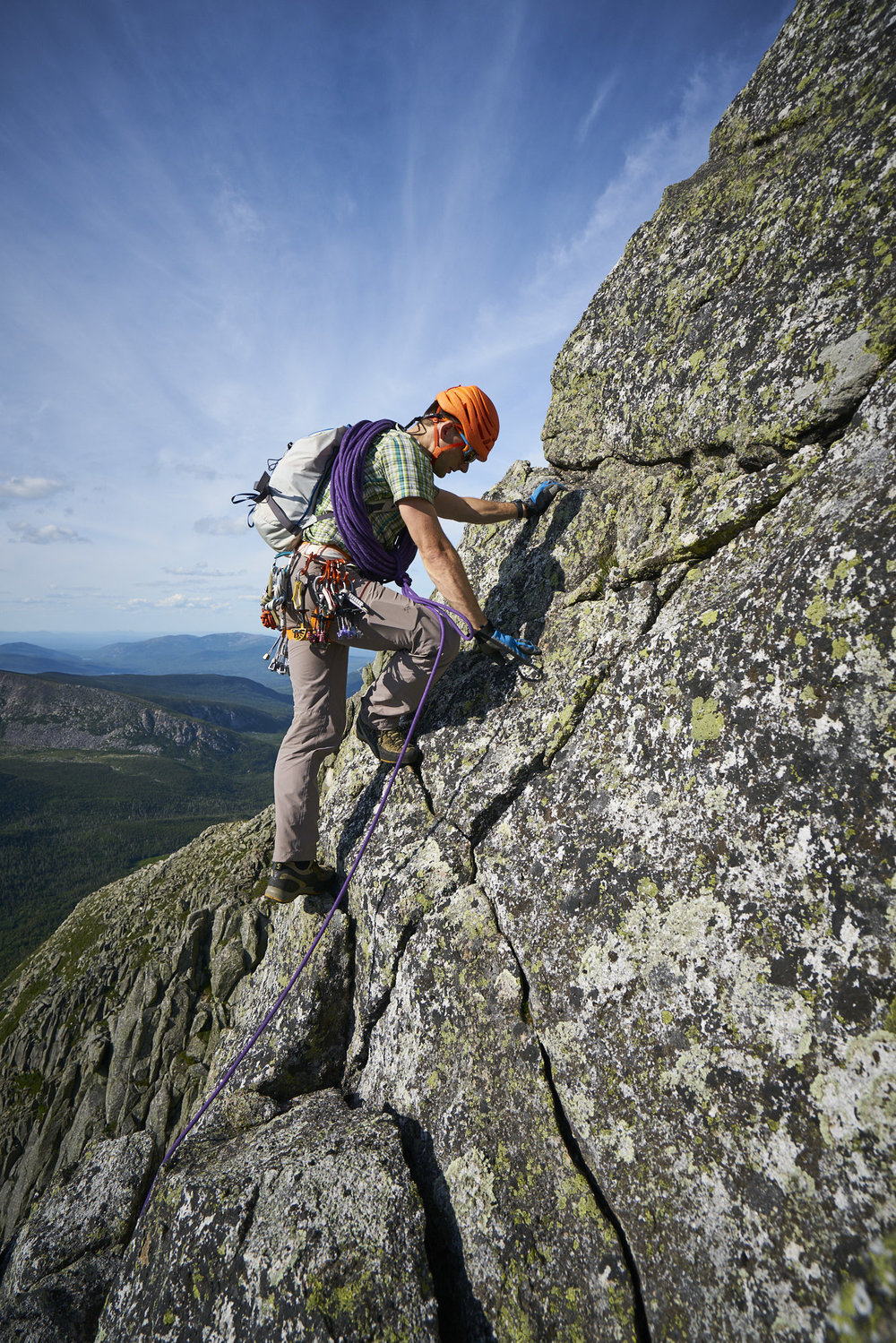 Adventure photography of Keith Moon climbing on Katahdin