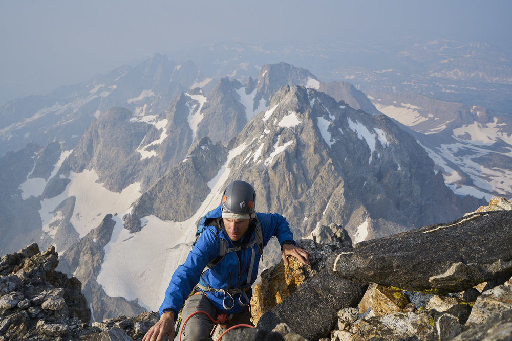 Adventure Photography of a climber on Upper Exum Ridge, Grand Teton