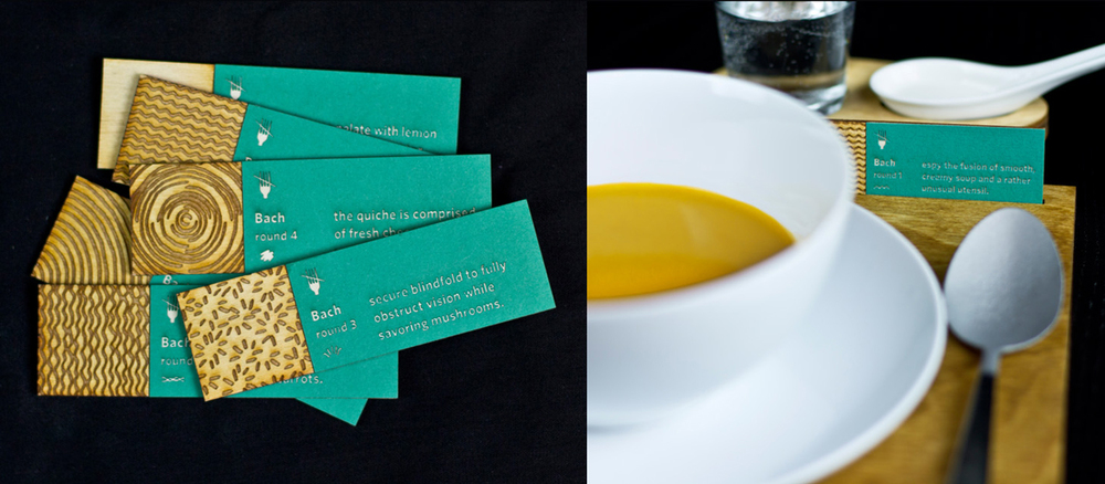 Each course includes a sensory stimulant to alter the perceived flavor or enjoyability of the food. Instructional cards are provided to guide the diner through using or noticing the additions.