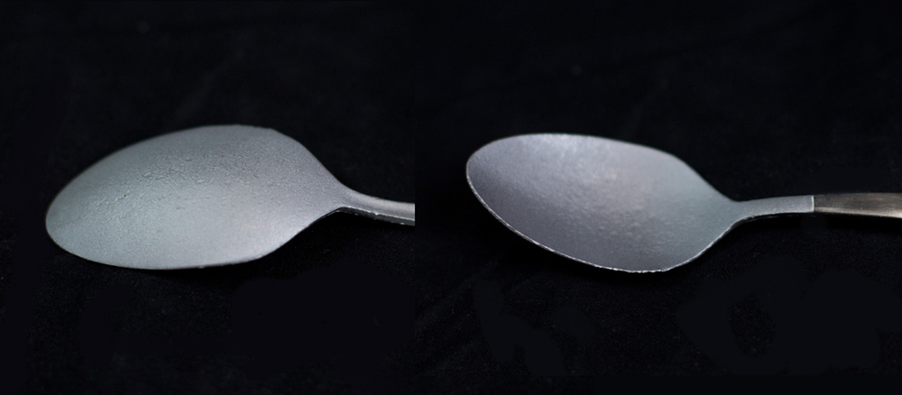 Sensory stimulants include textured utensils, headphones with sound, and aromas.   This spoon was sandblasted, needle scaled, and sandblasted again.