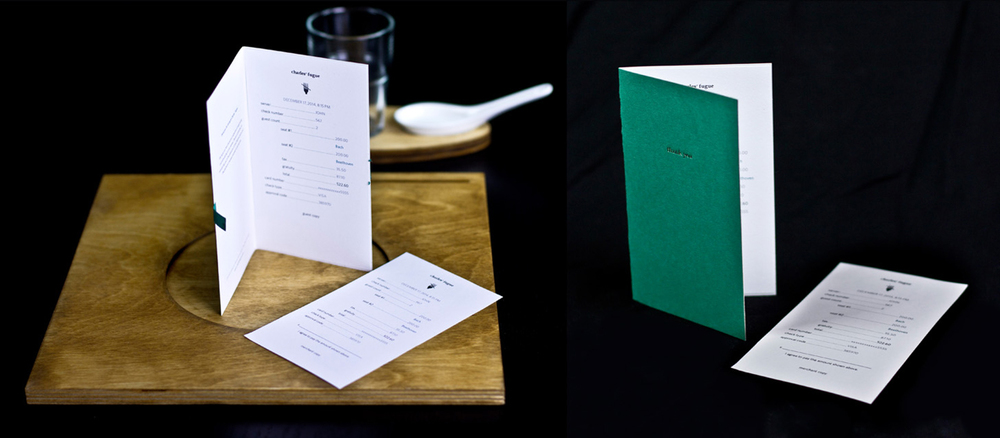 CHARLES' FUGUE  BRAND IDENTITY DEVELOPMENT, CONCEPT DESIGN, PACKAGE DESIGN, EDITORIAL DESIGN  The bill appears as a keepsake.