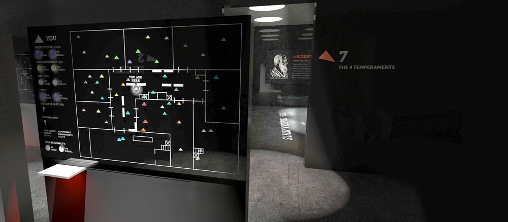 All of the museum exhibits branch off of a central room. Screens allow guests to scan their bracelets to view their progress and to see how they compare to other guests in the museum.