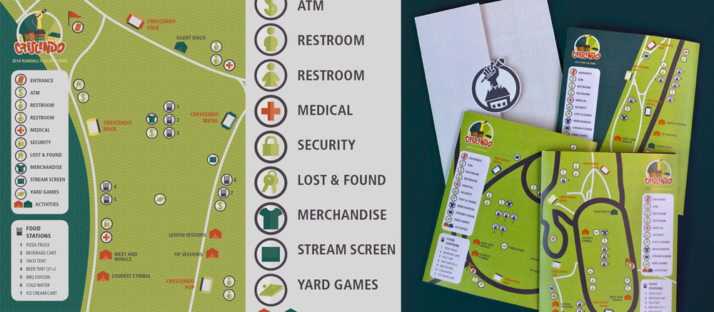 Wayfinding symbols help festival goers navigate the grounds and locate stages, services, and entertainment.