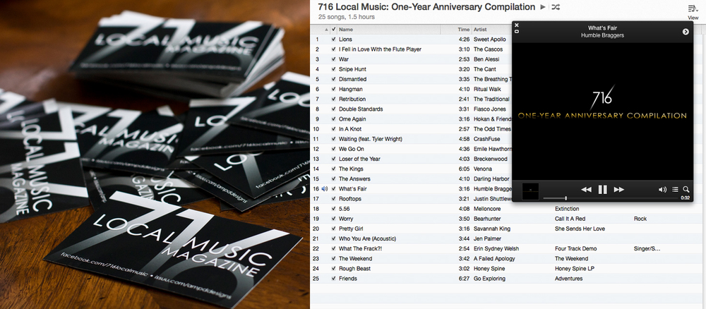 To promote the project, I designed stickers that were passed out at local concerts and placed in coffee shops and stores.  To celebrate the one-year anniversary of the publication in September 2013, I released a free downloadable compilation of 25 songs donated by the bands I had interviewed.