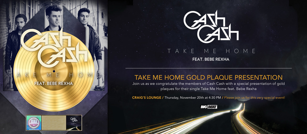 "I designed the gold plaque for Cash Cash's single ""Take Me Home"" featuring Bebe Rexha."