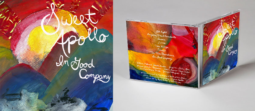 Sweet Apollo, an alternative rock band from Buffalo, NY, wanted their album artwork to be warm and inviting and depict nature. I collaged paper, cellophane, paper towels, and paint, and I hand painted the type.