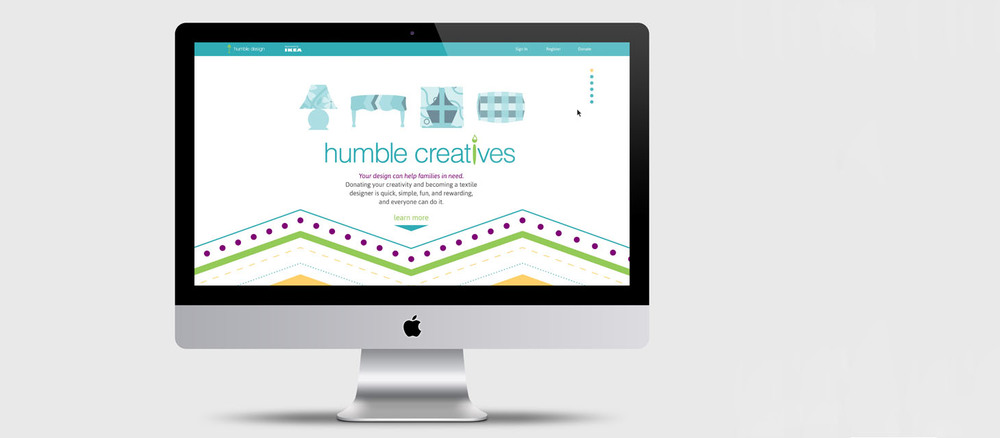 Humble Design, a Michigan-based non-profit organization, refurbishes homes for families emerging from homeless and abuse shelters. Humble Creatives allows users to participate by creating their own patterns.