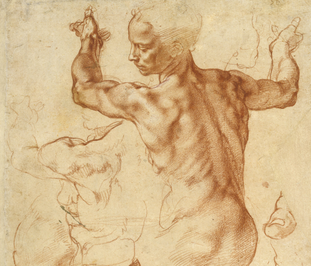 Notice how Michelangelo uses lines to define the extent of subforms in the left drawing of the shoulder - the overlap of masses is implied by the t-intersection of lines.  These plane breaks are defined with rendering in light and shade in the right drawing of the shoulder.  Both drawings were no doubt important for his analysis of this paritcular piece of anatomy.