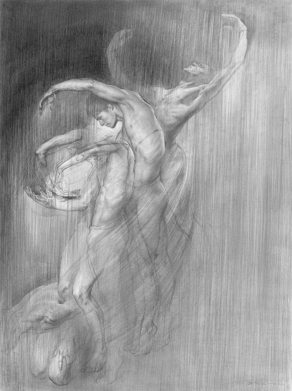 """Falling Upwards"" Graphite on paper"
